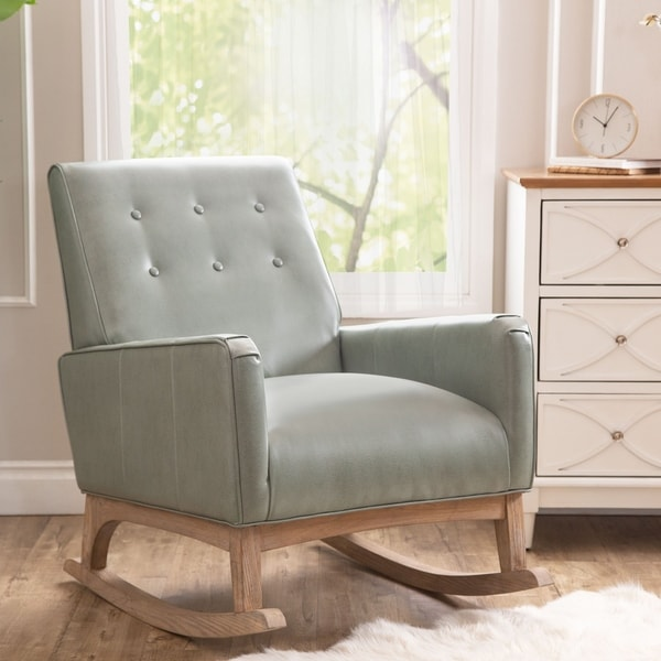 Abbyson Carroll Mint Green Mid Century Leather Rocker
