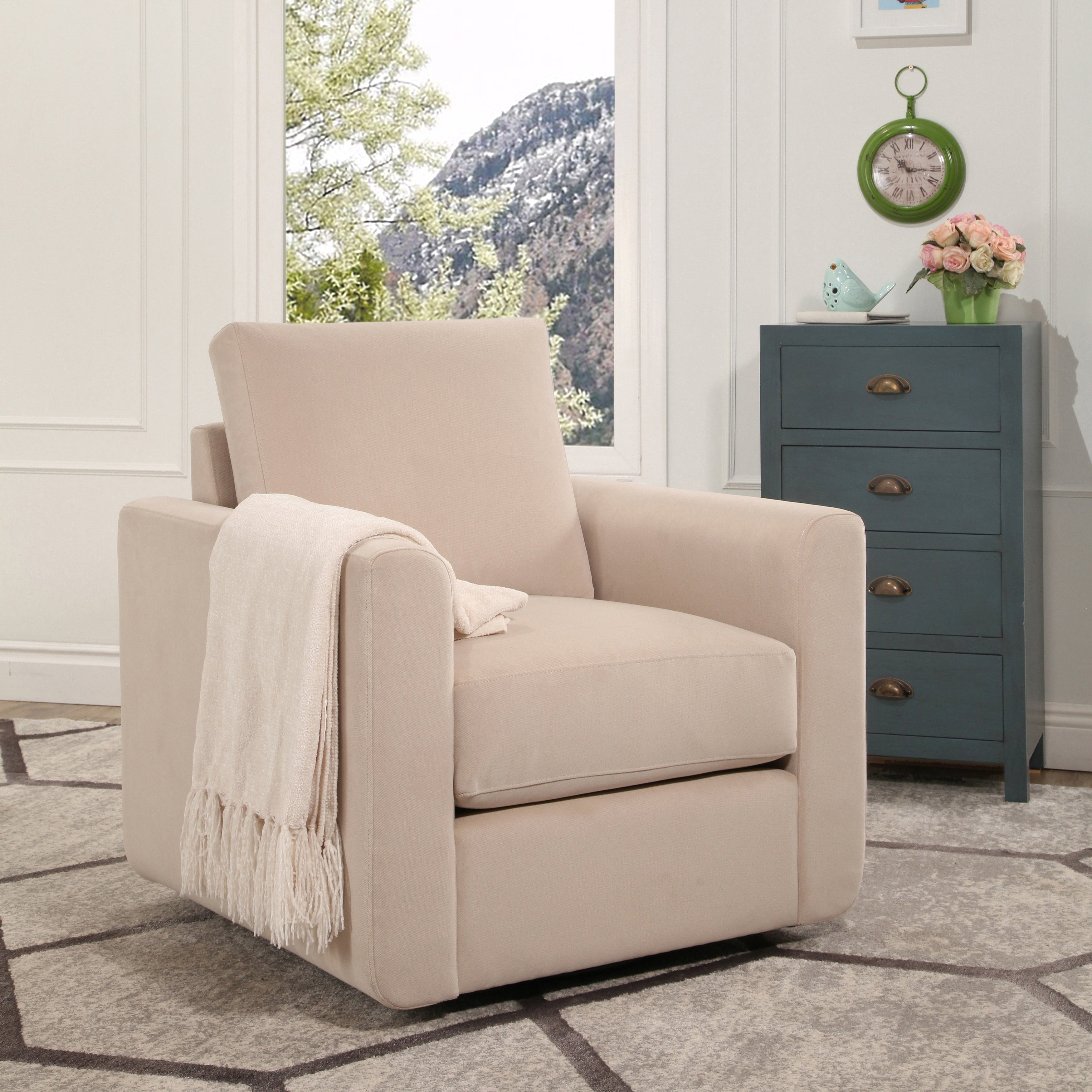 Abbyson Anthony Fabric Swivel Chair (2 Options Available)