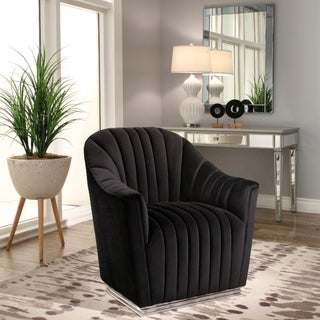 Link to Abbyson Baltimore Black Channel Tufted Chair Similar Items in Accent Chairs