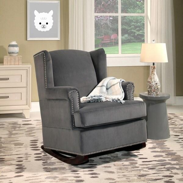 Abbyson Warren Charcoal Grey Velvet Wingback Rocking Chair