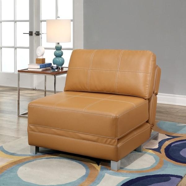 Shop Abbyson Hammond Faux Leather Convertible Futon Chair
