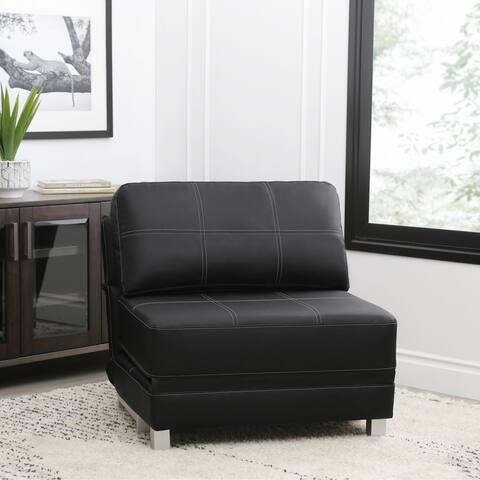 Abbyson Hammond Faux Leather Convertible Futon Chair