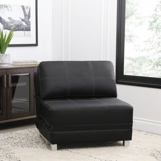 abbyson hammond faux leather convertible futon chair  2 options available  faux leather futons for less   overstock    rh   overstock