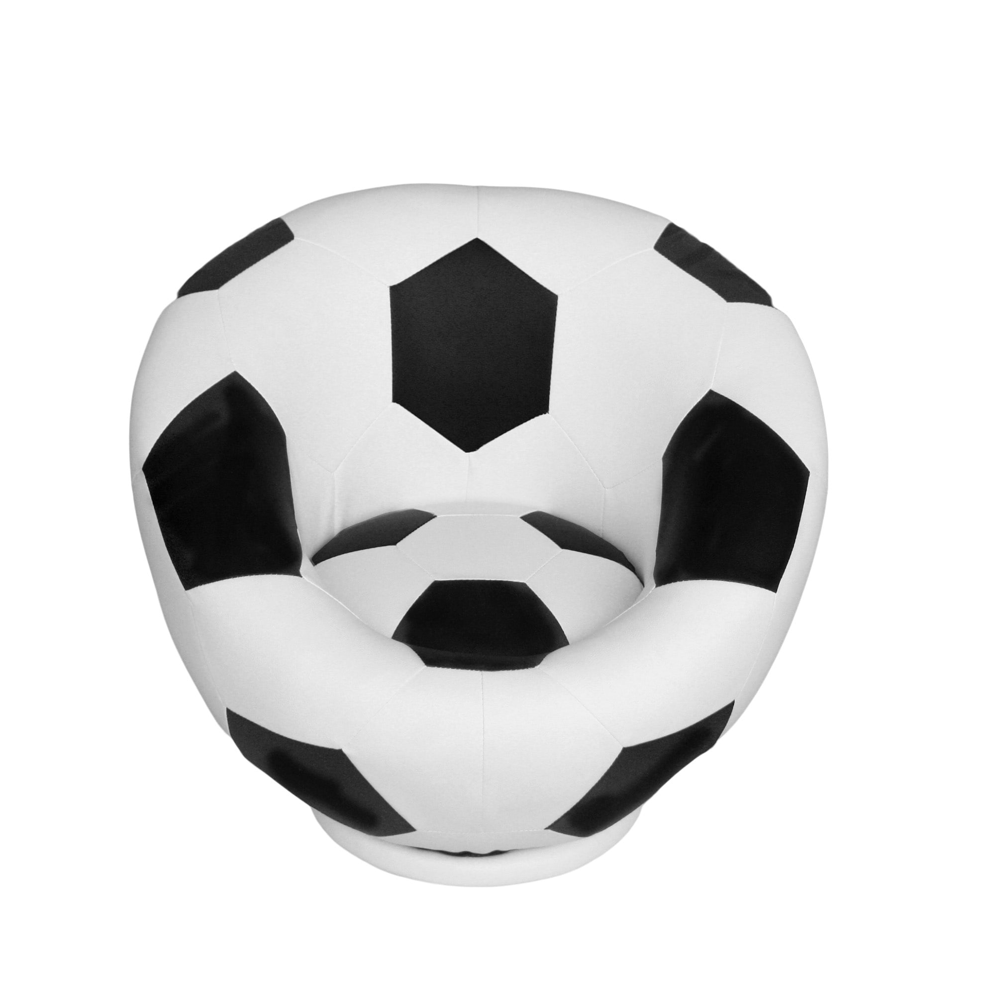 Kids Soccer Ball Chair Upholstered Foam Padded Seat Swivel Base White Finish