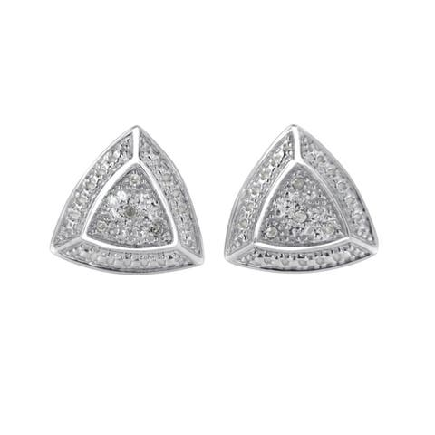 .925 Sterling Silver Diamond-Accented Trillion Shaped 4-Stone Halo-Style Stud Earrings (H-I, I2-I3)