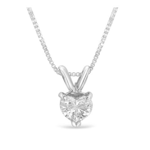 14K White Gold 1/3ct TDW Solitaire Heart Diamond Pendant Necklace (H-I,VS1)