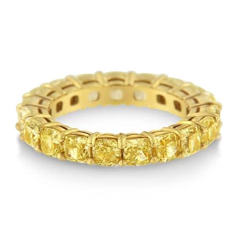 IGI Certified 18k Yellow Gold 5.00ct. TDW Yellow Cushion Diamond Eternity Band (VVS2-VS1)