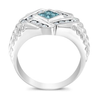 Men's 14k White Gold 1ct TDW Treated Blue an White Diamond Ring (Blue,I1) (3 options available)