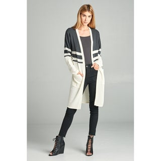 Spicy Mix Karley Micro Ribbed Stripe Open Cardigan Sweater