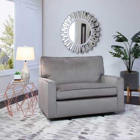 Abbyson Lakin Grey Oversized Velvet Glider Chair