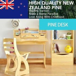 Pine Wood Kids Ergonomic Height Adjustable Desk and Chair Set