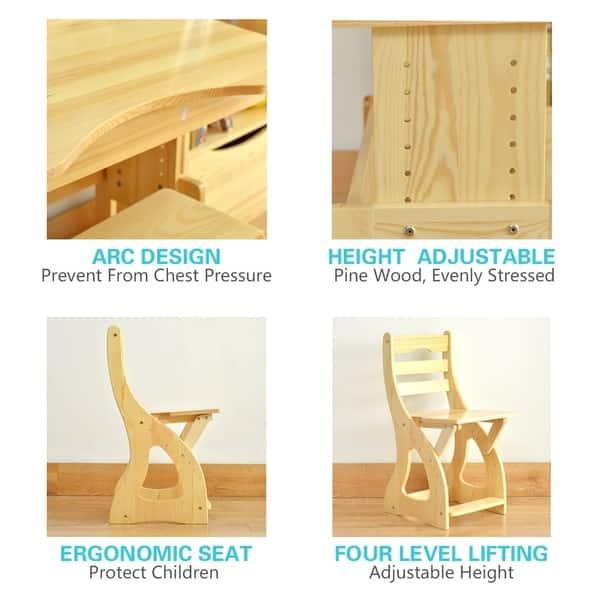 Brilliant Shop Pine Wood Kids Ergonomic Height Adjustable Desk And Theyellowbook Wood Chair Design Ideas Theyellowbookinfo