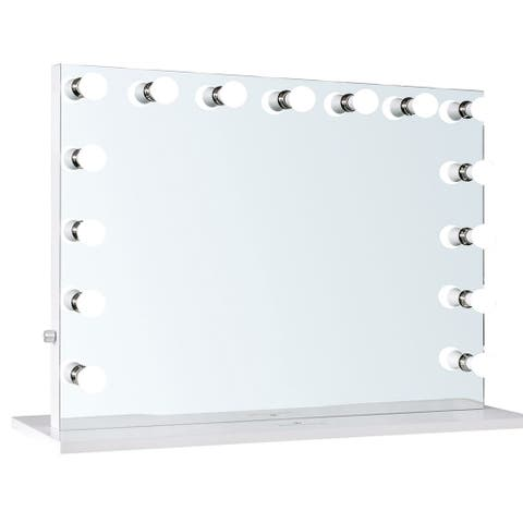 "ReignCharm Hollywood Vanity Mirror, 15-LED Bulbs, Dual Outles & USB, 44""W x 33""H - White"