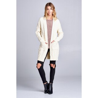 Spicy Mix Kamari Chunky Cable Knit Cardigan Sweater (Option: S/M - Ivory)