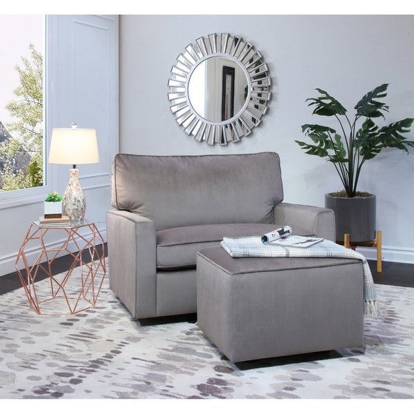 Shop Abbyson Lakin Grey Oversized Velvet Glider Chair And