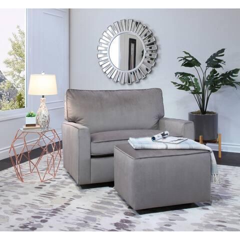 Abbyson Lakin Grey Oversized Velvet Glider Chair and Ottoman