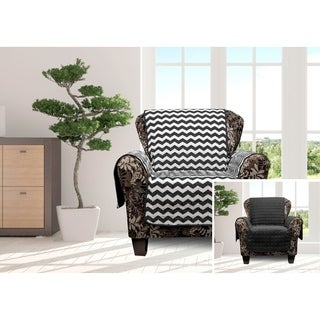 Quick Fit Fifi Collection Chevron Quilted Reversible Chair Protector