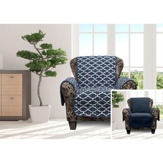 Quick Fit Coby Collection Geometric Quilted Reversible Chair Protector