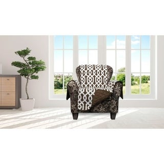 Quick Fit Ashmont Collection Geometric Quilted Reversible Chair Protector