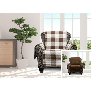 Quick Fit Alba Collection Checkered Quilted Reversible Chair Protector