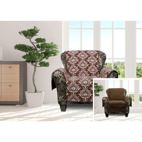 Quick Fit Aime Collection Damask Quilted Reversible Chair Protector - 69x75""