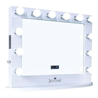 ReignCharm LED Hollywood Vanity Mirror with Bluetooth Speakers, Dual Outlets & USB
