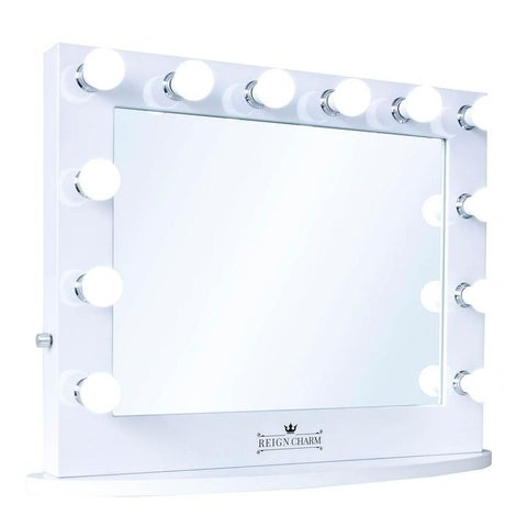 """ReignCharm Hollywood Vanity Mirror, 12 LED Lights, Dual Outlets & USB, 32""""W x 27""""H, White"""