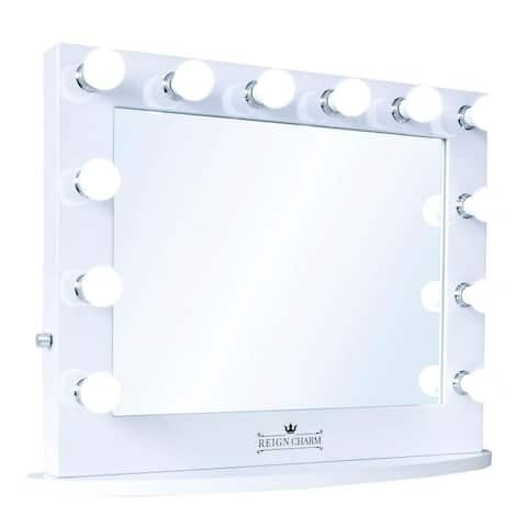 "ReignCharm Hollywood Vanity Mirror, 12 LED Lights, Dual Outlets & USB, 32""W x 27""H, White"
