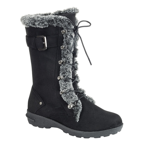 a3ff62453d43 Forever Women  x27 s Lace Up Side Zipper Buckle Mid Calf Winter Snow Boots