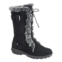 Forever Women's Lace Up Side Zipper Buckle Mid Calf Winter Snow Boots