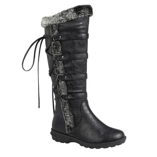 Forever FP07 Women's Back Lace Up Strap Under Knee High Snow Boots