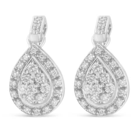 10K White Gold 0.75 ct. TDW Pear Shaped Diamond Earrings (H-I, I1-I2)