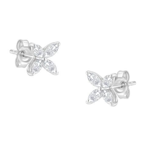 14K White Gold .5 ct.TDW Marquise-cut 4-stone Diamond Stud Earrings (H-I,SI1-SI2)
