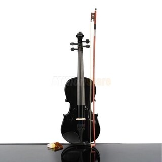 3/4 Size Acoustic Violin w/ Case Bow Rosin Black Christmas Kids Gifts