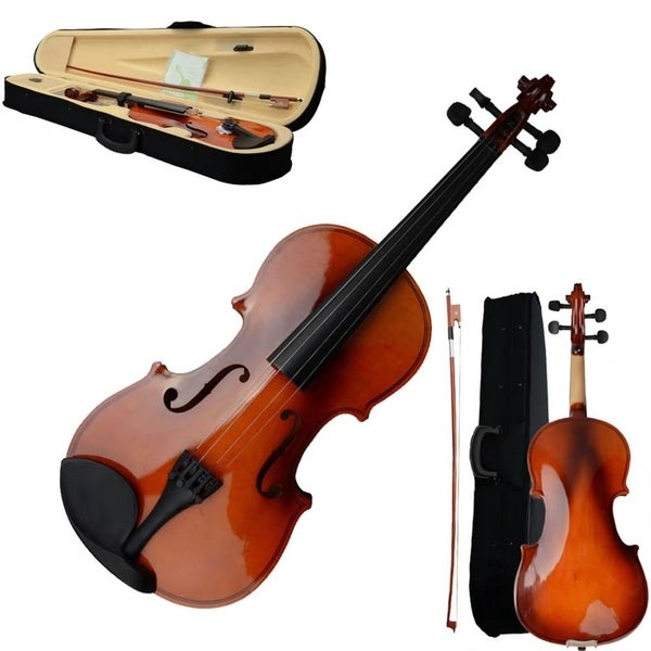 Shop 4/4 Full Size Soild Natural Acoustic Violin Fiddle Christamas Gifts - Free Shipping Today - Overstock - 19422169