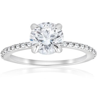Bliss 14K White Gold 1 1/4 Ct TDW Diamond Clarity Enhanced Round Solitaire Engagement Ring