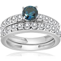 Bliss 14K White Gold 1 1/3Ct Blue Round Cut Diamond Matching Bridal Engagement Wedding Ring Set