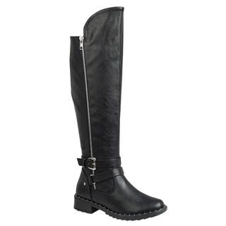 Forever FP10 Women's Metallic Studded Side Zip Over Knee High Boots