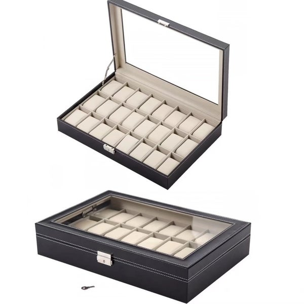 Watch Box Leather Case Jewelry Collection Organizer Storage Holder
