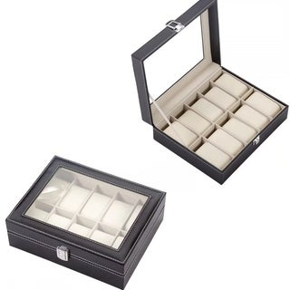 Watch Box Leather Case 10 Grid Jewelry Collection Storage Holder