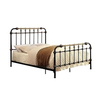 Riana Contemporary Metal Queen Size Bed, Black Finish