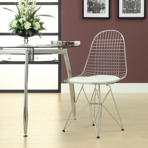 Porch & Den Silver Lake Burr White Vinyl Cushion Dining Chair
