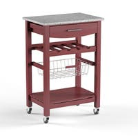 Porch & Den Prospect Hill Sanborn Granite Top Kitchen Cart