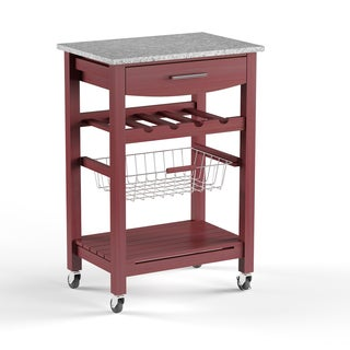 Porch & Den Prospect Hill Sanborn Wenge and Granite Top Mobile Kitchen Island with Wine Rack