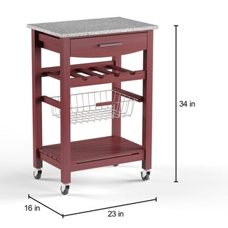 Porch & Den Bigelow Wenge and Granite Top Mobile Kitchen Island with Wine Rack