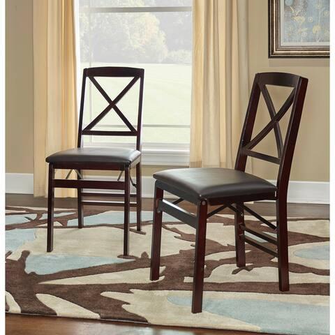 Porch & Den Loy Espresso Back Folding Chair (Set of 2)
