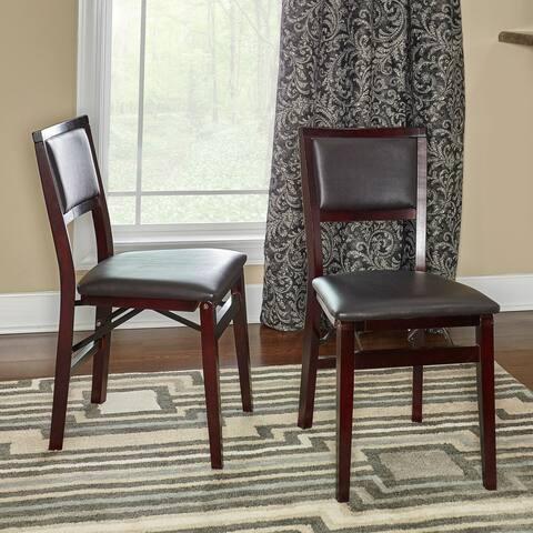 Porch & Den Aldersey Espresso Folding Chair with Dark Brown Seat (Set of 2)
