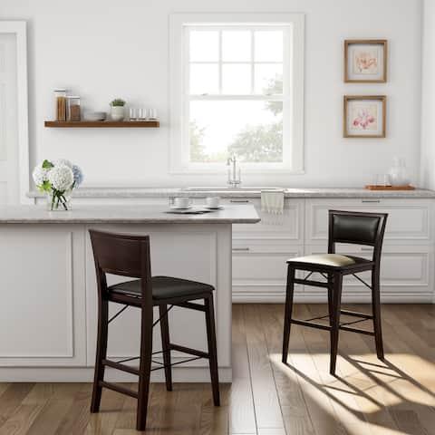 Porch & Den Aldersey Dark Brown Folding Counter Stool