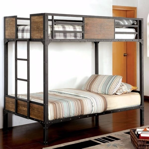 Shop Twin Size Metal Bunk Bed With Unique Handmade Painting Finish