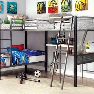 L-Shaped Triple Twin Contemprorary Bunk Bed With Desk